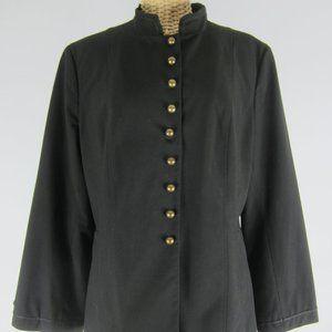 J. Jill 14 Petite Black LS Jacket Blazer Career 14